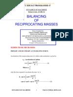 Unit 5 Balancing of Reciprocating Masses