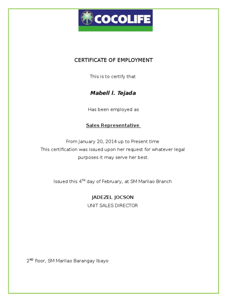 Sample certificate of employment in sm gallery certificate design sample certificate of employment in sm choice image certificate certificate of employment template uk images certificate yelopaper Images