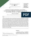 Integrative strategic performance measurement systems, strategic alignment of manufacturin