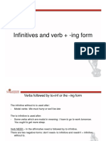Infinitives and verbs + ing forms