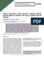 Higher secondary school teachers' attitude towards second degree in physics