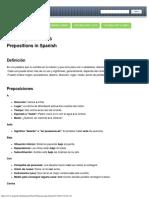 Preposiciones en Español - Spanish Prepositions