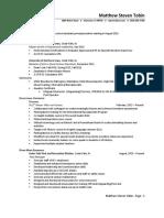 resume for adminstratoin - tobin