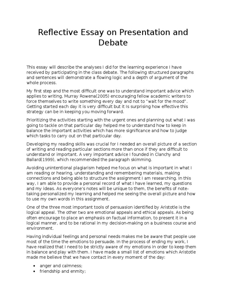 reflective essay on presentation and debate self improvement reflective essay on presentation and debate self improvement emotions
