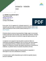 Caducidad de Instancia - Tramite Normal Del Proceso. Por Andrea Alejandra Imatz