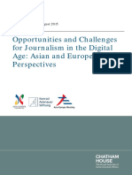 Chatham House (2015). Opportunities and Challenges for Journalism in the Digital Age. Asian and European Perspectives