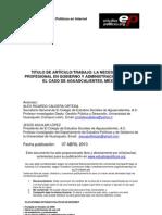 LA NECESIDAD DEL PROFESIONAL EN GOBIERNO Y ADMINISTRACIÓN PÚBLICA. EL CASO DE AGUASCALIENTES