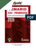 Temario de La Xxv Promoción. Esan Sindikatua. 18 de Marzo de 2015.