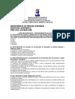 Lista Exercgício - Procedimentos de Auditoria