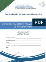 Tercera Prueba de Avance de 9 Grado - Matematica Praem 2012