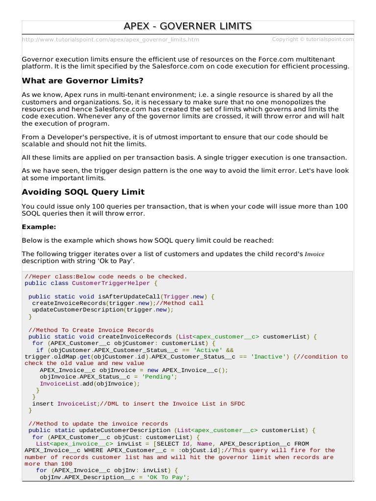 25  apex_governor_limits pdf | Salesforce Com | Ingeniería