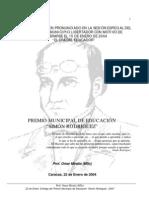 """PREMIO MUNICIPAL DE EDUCACIÓN """"SIMÓN RODRÍGUEZ"""""""