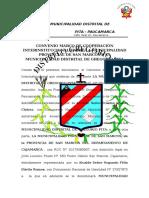 Convenio Marco de Cooperación Interinstitucional Entre La Municipalidad Provincial de San Marcos y La Municipalidad Distrital de Gregorio Pita