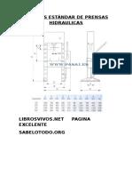 Medidas Estándar de Prensas Hidraulicas