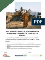 """""""EL PAPEL DE LA MUJER EN ACCIÓN HUMANITARIA Y COOPERACIÓN"""