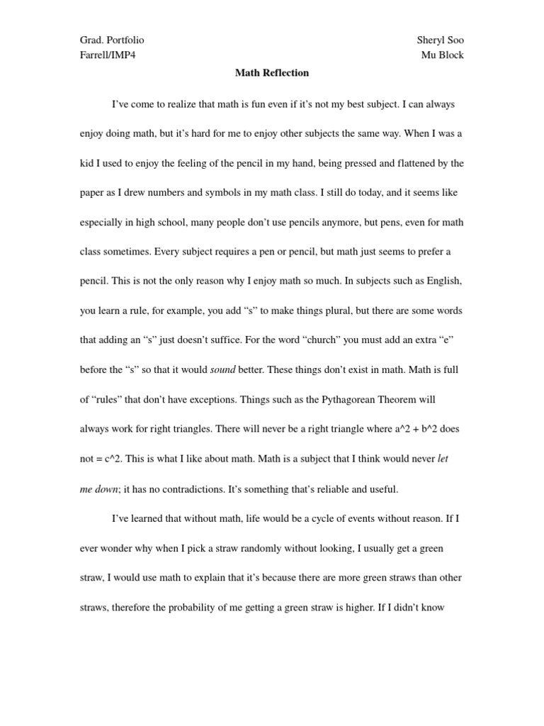 Example Of Reflection Paper On A Class Tagalog