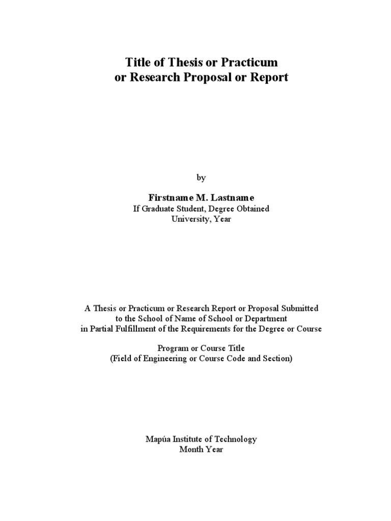 mapua thesis format