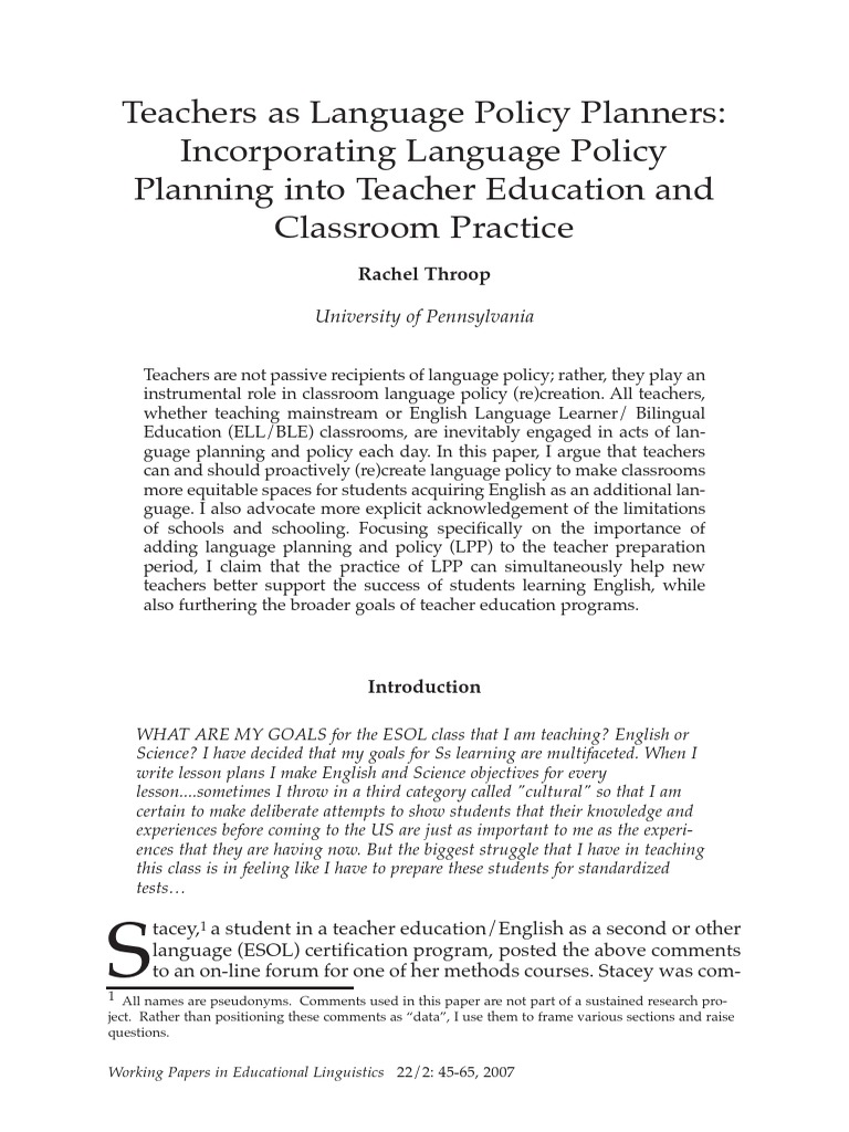 Teachers as language policy planners throop 2007 english as a teachers as language policy planners throop 2007 english as a second or foreign language no child left behind act 1betcityfo Images