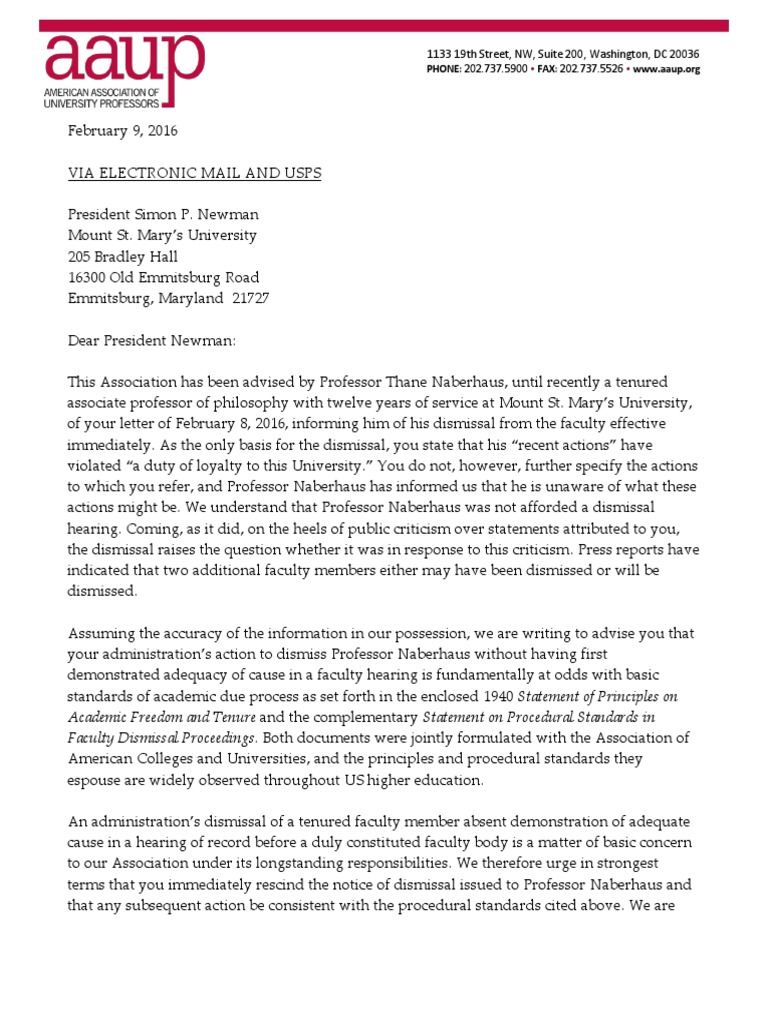 Letter from the AAUP   Government   Politics
