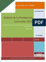 Analisis de La Pertinencia Curricular 2010