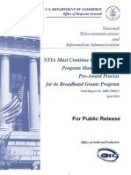 Inspector General US Dept of Commerce Report on NTIA Broadband Stimulus Published 04-12-2010