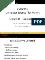 CMSC 201 - Lec04 - Expressions(2)