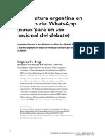 La lit Argentina en tiempos de whatsapp