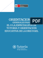 Orientaciones Generales Para Especialistas de Tutoria y Orientacion Educativa de La Dre Ugel