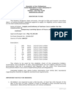 Supply and Delivery of Various Coco Lumber for the PHSI