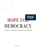 Studie Hope for Democracy - 25 Years of Participatory Budgeting Worldwide
