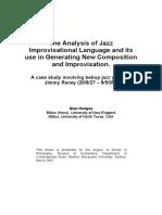 The Analysis of Jazz Improvisational Language