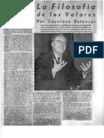 Cayetano Betancur, La filosofía de los valores