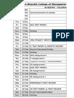 Academic Calendar 2016--Even Semester