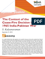 The Context of the Ceasefire Decision in the 1965 India-Pakistan War