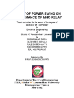 Effect of power swing on the performance of mho relay