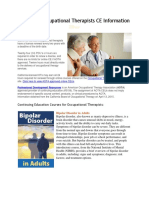 California Occupational Therapists CE Information