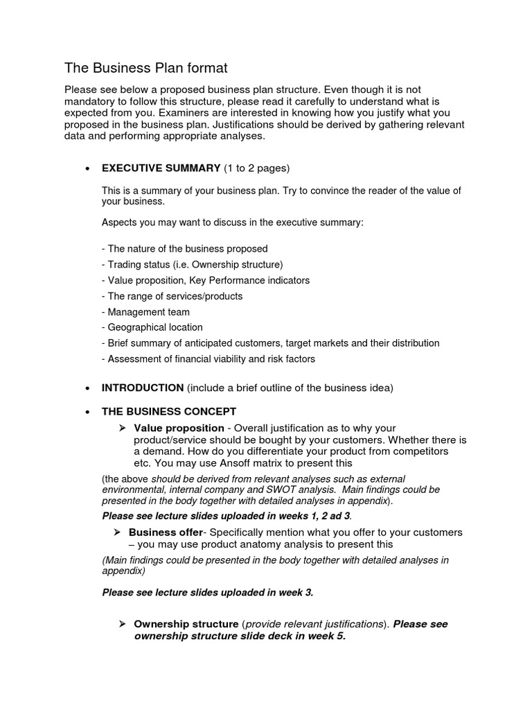 The Business Plan Format   Business Plan   Property