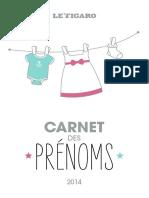 Carnet Prenoms 2014