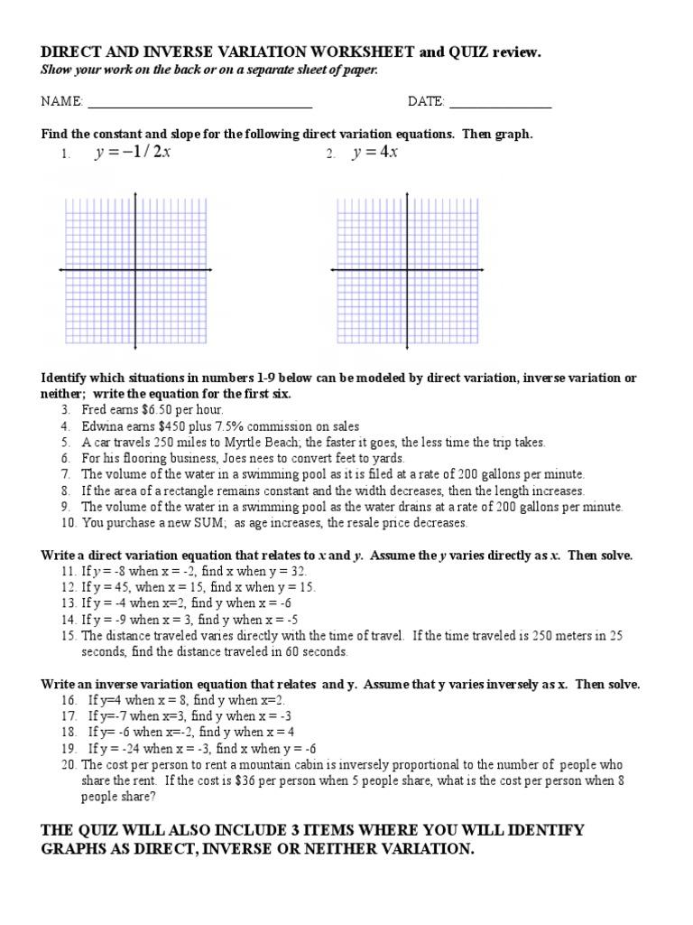 Direct And Inverse Variation Worksheet Pdf Nidecmege