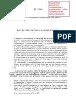Linz, J. Del Autoritarismo a La Democracia