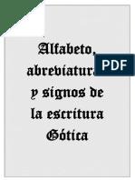 Alfabeto, nexos y abreviaturas usuales de la escritura Gótica.