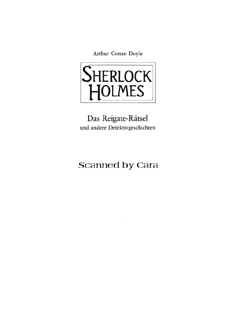 Doyle, Arthur Conan - Sherlock Holmes - Das Reigate-Raetsel