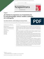 Acupuntura en Cervicobraquialgia 2014