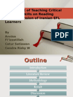 The Impact of Teaching Critical Thinking Skills On Reading Comprehension