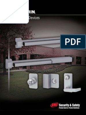 Von Duprin 2227EO Surface Mounted Vertical Rod Exit Device from The 22 Series for 3 Wide Doors Sprayed Aluminum Finish