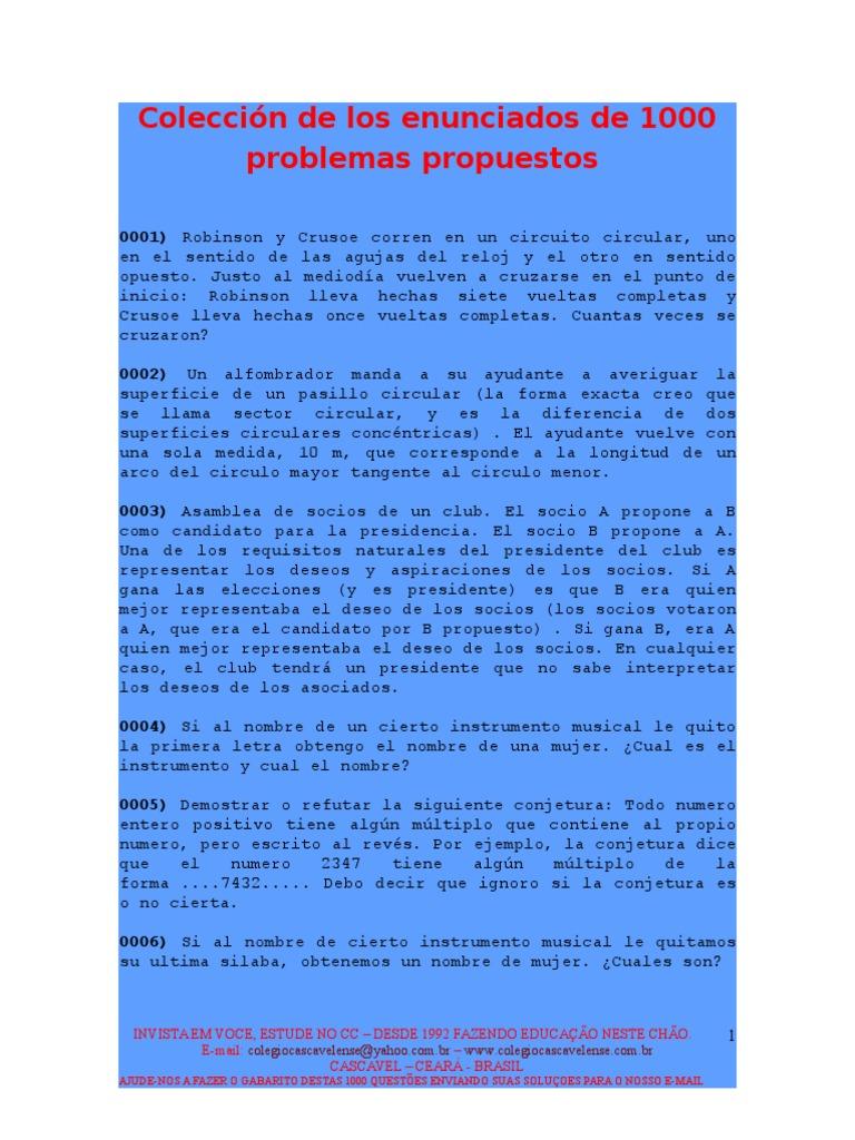 1000 Problemas Propuestos Matematicas