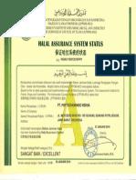 Hallal Assurance System Status PT. Phytochemindo Reksa