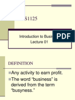 Introduction to Business - BUS1135 Lecture 01