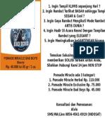 Jual Pomade Klimis, Termahal,Murah, 085645610919
