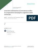 Efficient Elimination of Erroneous Nodes in Cooperative Sensing